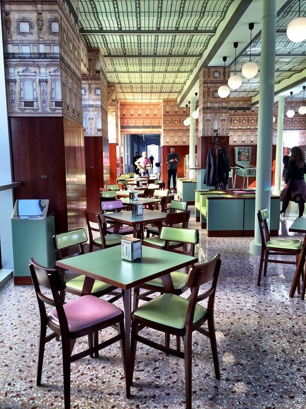 Wes anderson designed bar luce at fondazione prada milan