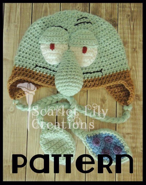 PATTERN Squidward Crochet Hat   Free Crochet Patterns   Pinterest ...
