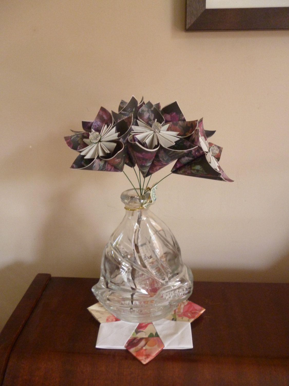 Origami paper flower bouquet - wedding anniversary & gift idea ...