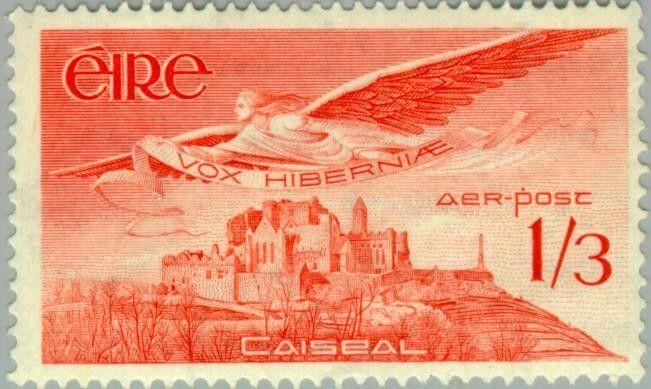 Stamp: Angel Victor over Rock of Cashel (Ireland) (Air) Mi:IE 125,Sn:IE C6,Yt:IE…