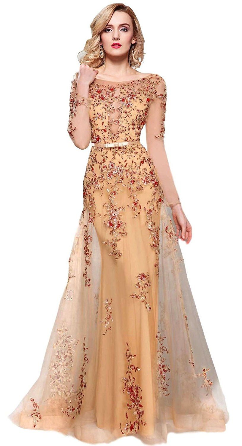 299e23ce5f8 Meier Women s Illusion Long Sleeve Embroidery Prom Formal Dress at Amazon  Women s Clothing store