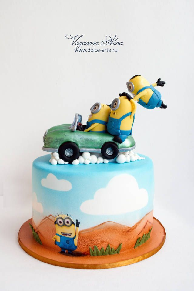 Minions Flying On Retro Car Torty Detsk 233 Cake Cake