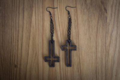 Although these reversible cross earrings just sold from the shop, you can bet we'll be getting more in soon! We have a few more earrings that will be premiering on Etsy soon, but I think these are my favorite right now. Because they're looped through a chain, you can wear them right-side-up or upside-down, depending on your mood ;)