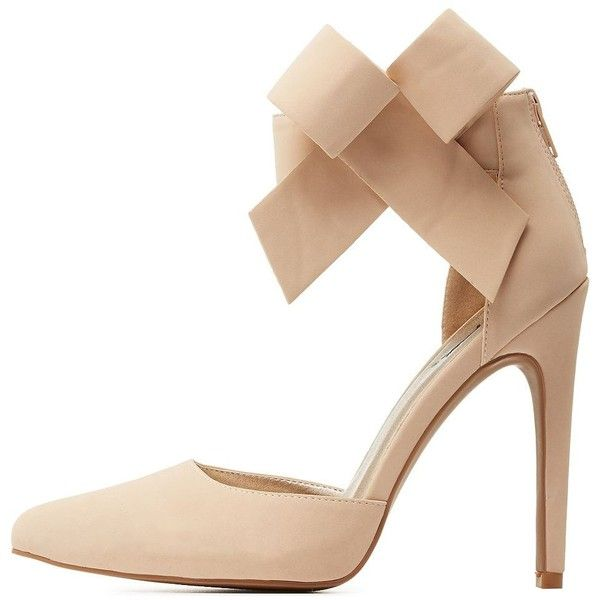 a92f12e96c7 Charlotte Russe Nude Qupid Ankle Bow Pointed Toe D'Orsay Pumps by ...