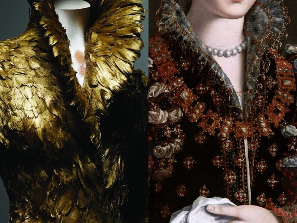 """""""Camilla Martelli"""" by Studio of Alessandro Allori (c.1575) / Alexander McQueen: Savage Beauty. Gold feather coat, AW10"""