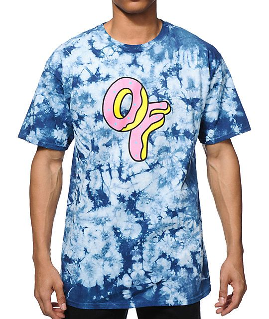d32bd701915c A groovy blue tie dye design adds unique OFWGKTA style to your wardrobe  with a pink and yellow OF donut logo graphic at the chest.