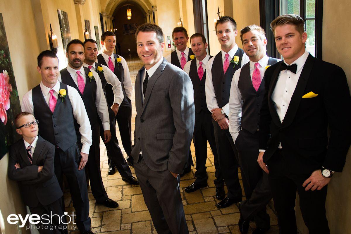 the groom and his groomsmen posing in the hallway villasiena cc