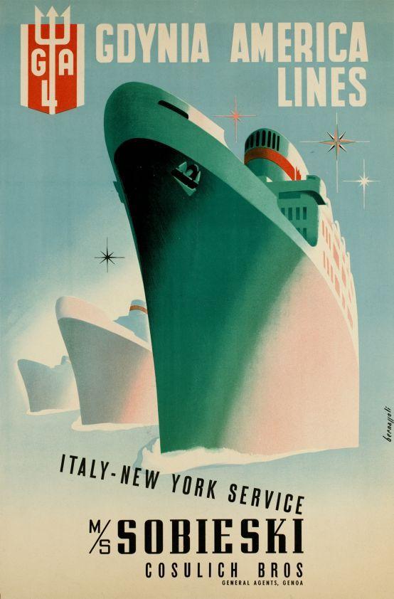1947 Gdynia America Lines Italy New York Service Ms Sobieski