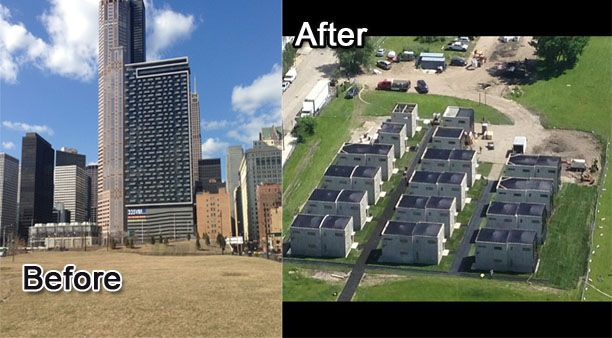 Abnegation houses on Wells St. Before and after construction.