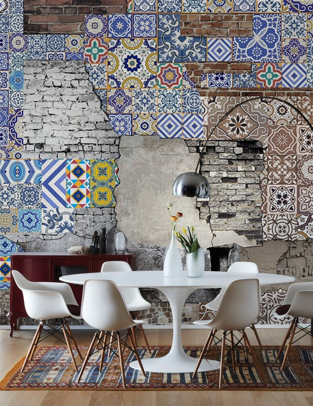 3d Look Chinoiserie And Brick Wall Wallpaper Mural Brick Wall Wallpaper Wall Wallpaper Wall Murals Bedroom