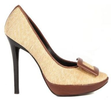 roger vivier leather and rafia shoes