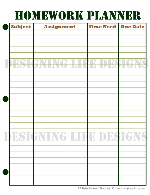 Homework planner and weekly homework sheet by for College school schedule template