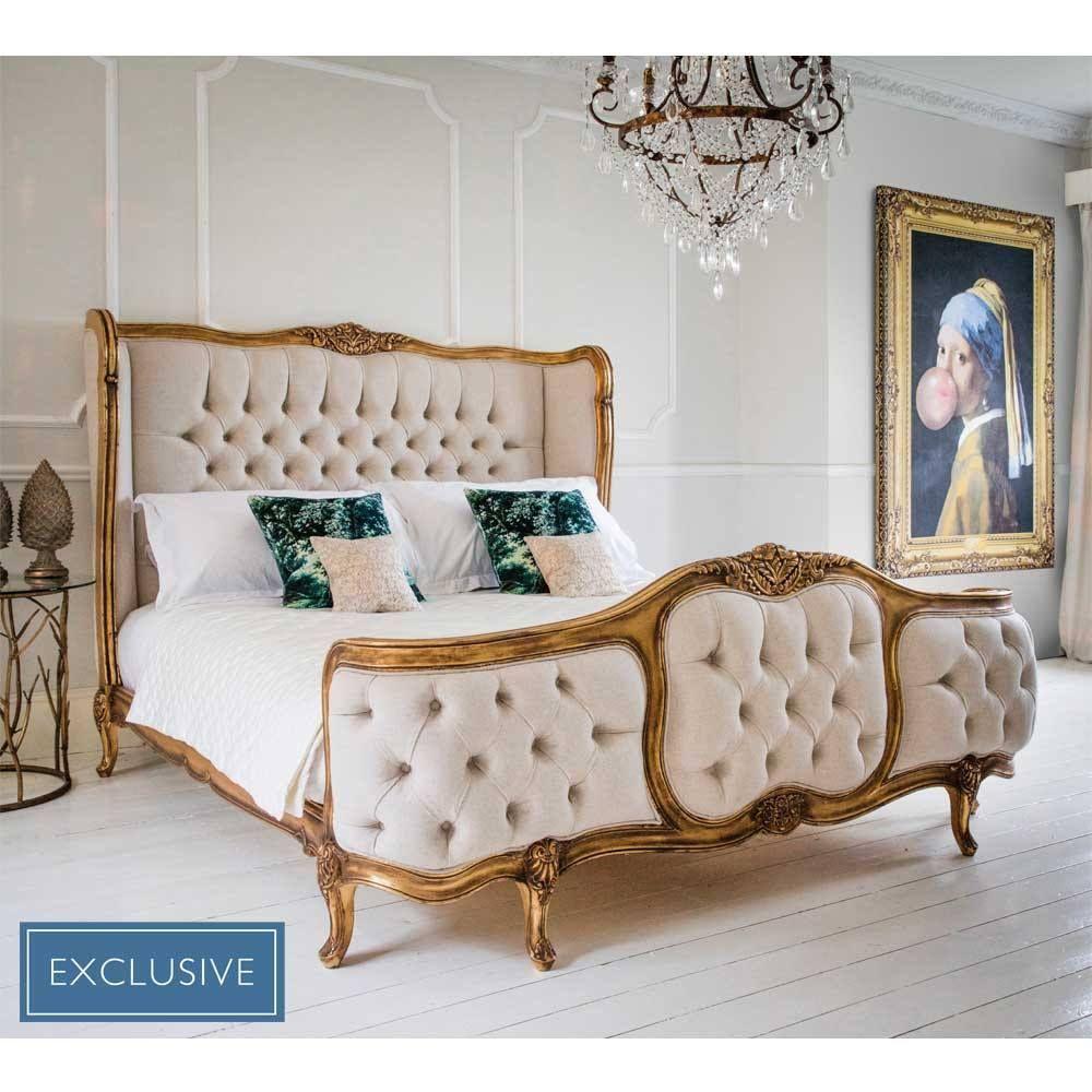 Versailles Linen Upholstered Bed (Superking) | Hogar y Decoración