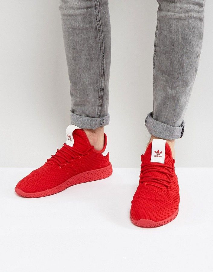 229a47c59f5e  men  fashion  male  style  menfashion  menwear  menstyle  clothes  boots   man  ad adidas Originals x Pharrell Williams Tennis HU Sneakers In Red  BY8720