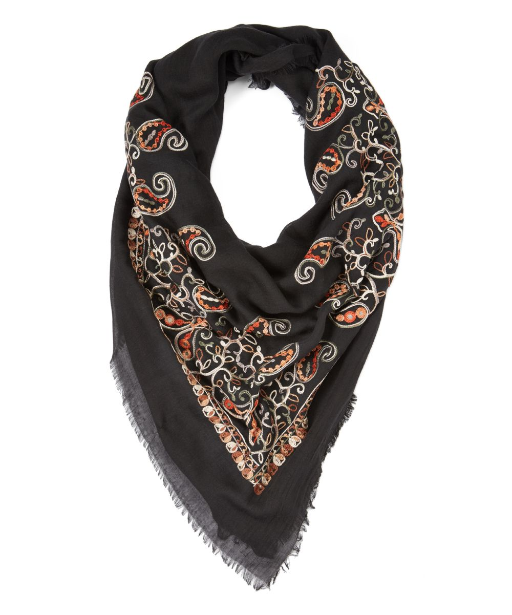 Black Geometric Embroidered Scarf