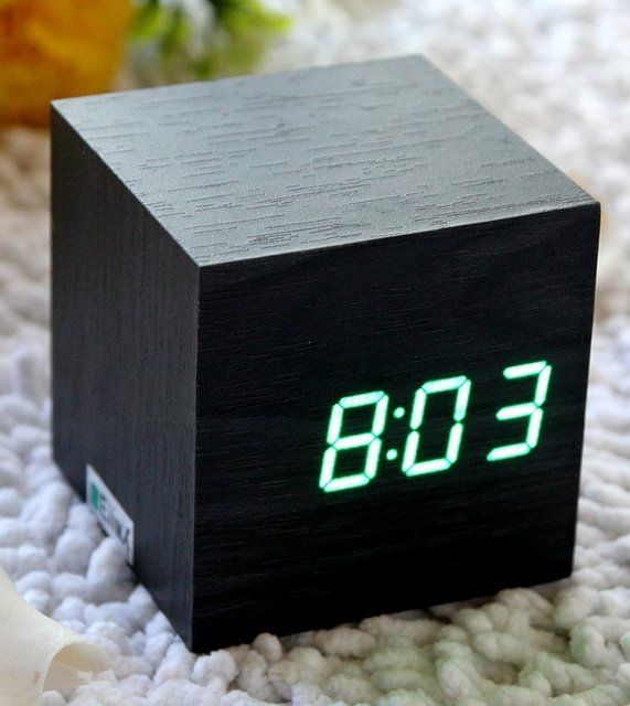 Wooden Cube Alarm Clock Get It Here Http Www Thegiftsformen Com Wood Led Alarm Clock Php Alarm Clock Digital Alarm Clock Wooden Clock