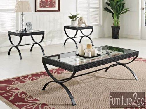 Furniture2go A80077 Quitin Black Finish 3 Piece Coffee Table