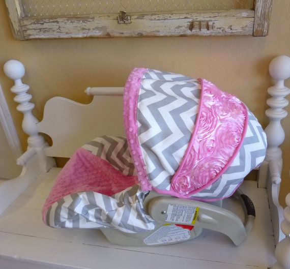Grey Chevron with Bubblegum and Rose Infant Carseat by sewcuteinaz, $75.00