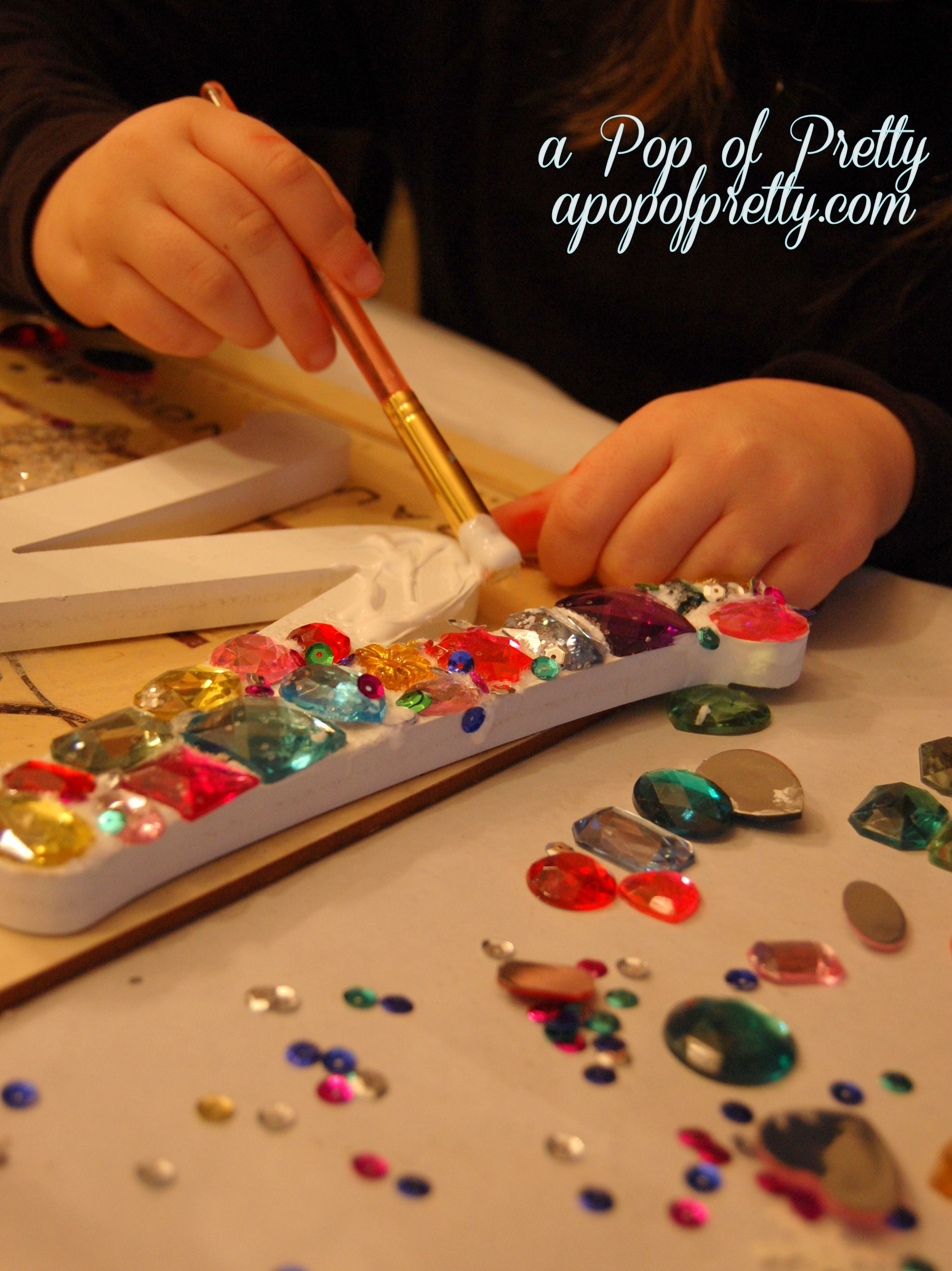 Crafts for young girls - Blinged Out Girly Girl Monogram Easy Craft Or Gift Idea For Girls