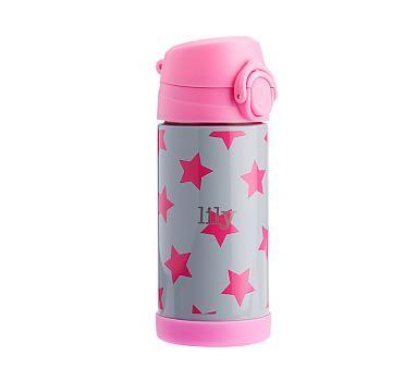 Insulated Water Bottle Fairfax Light Gray Pink Stars