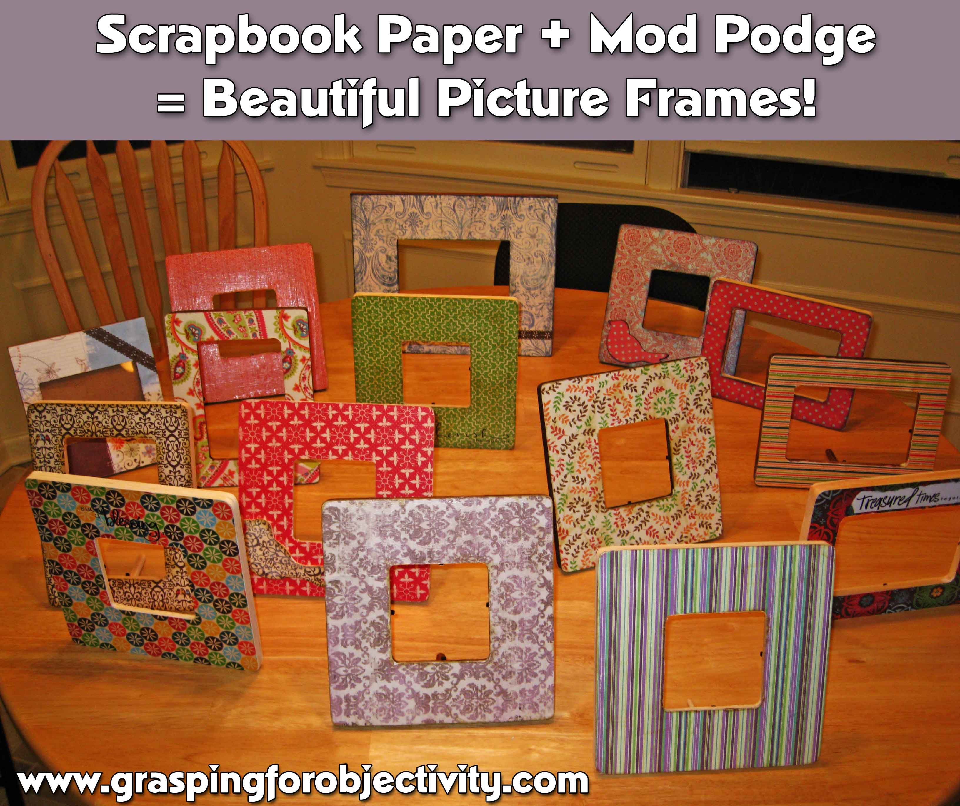 How to make beautiful picture frames with mod podge and scrapbook how to make beautiful picture frames with mod podge and scrapbook paper jeuxipadfo Image collections