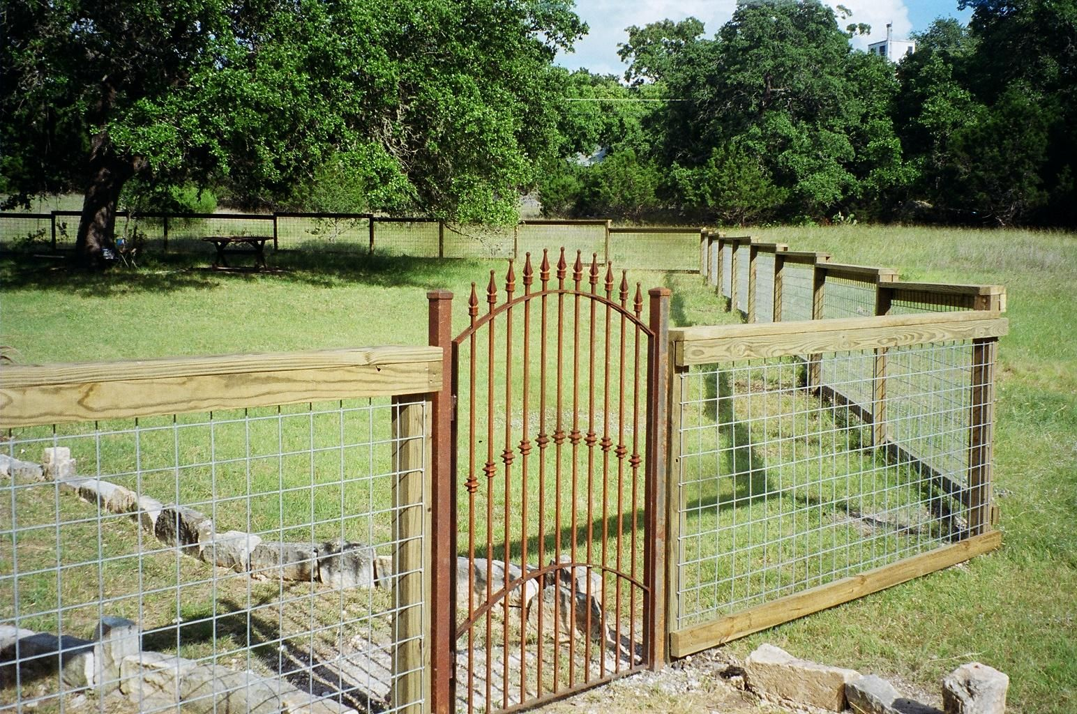 cattle fences and gates | iron gate custom wrought iron with stone ...