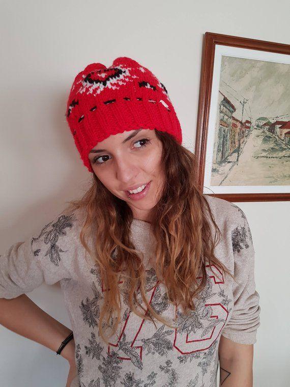 7e1725c2908 Winter hat Serbian souvenir Serbian pattern hat Winter wool hat New Year hat  Xmas wool cap Red cap R