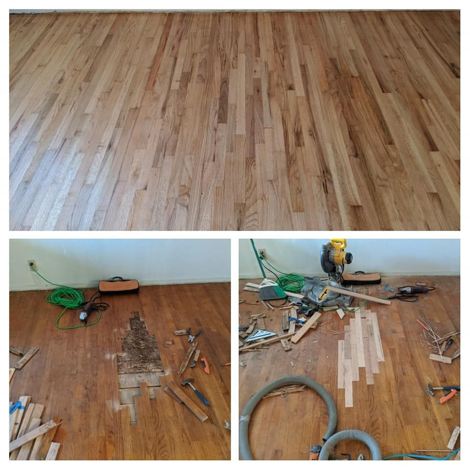 We Took This Old 1990s Orange Oak Floor And Gave It A Modern Light Gray Look In 2020 Wood Floors Flooring Wood Flooring Company