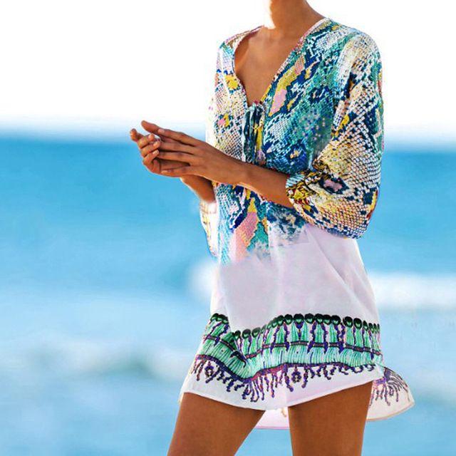 6365fdf0a Traje de baño kaftan playa 2018 playa túnica Beach cover up imprimir  serpiente de playa cover