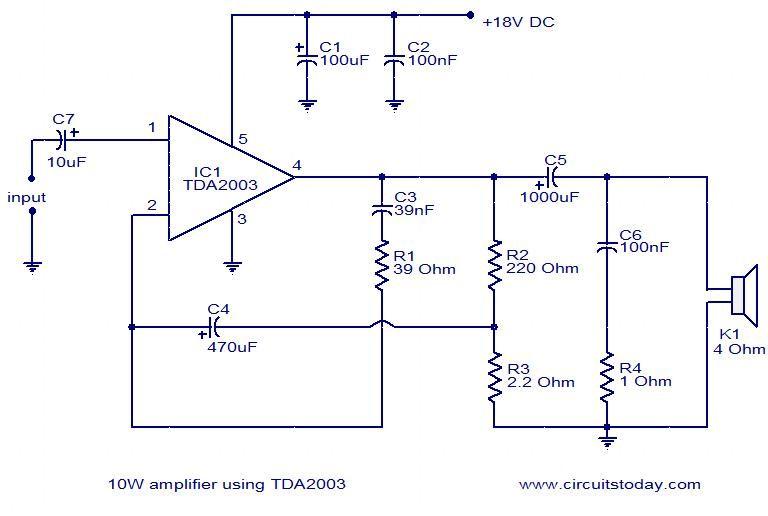 Circuit Diagram 10w Mini Audio Amplifier - Wiring Diagram K4