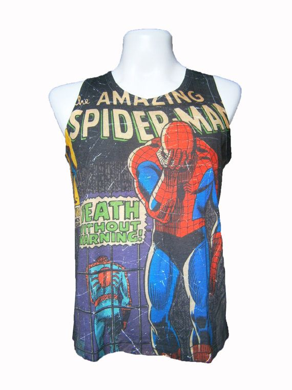 0ee46e6db41a8 The Amazing SpiderMan Tank Top Size M L T-Shirt Men Shirt Sleeveless White  TShirt Women on Etsy