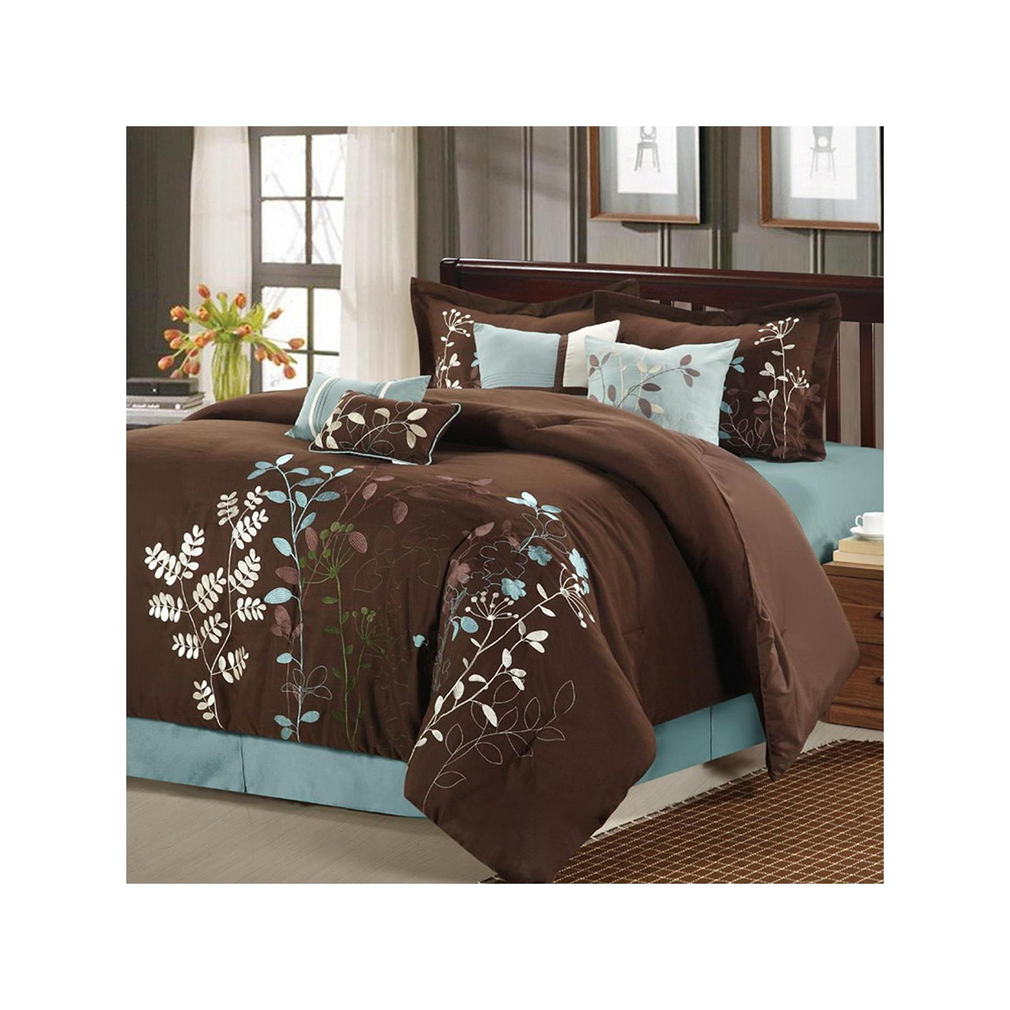 8pc Brown and White Bliss Floral Luxury Bed in a Bag Comforter Set /& Pillows