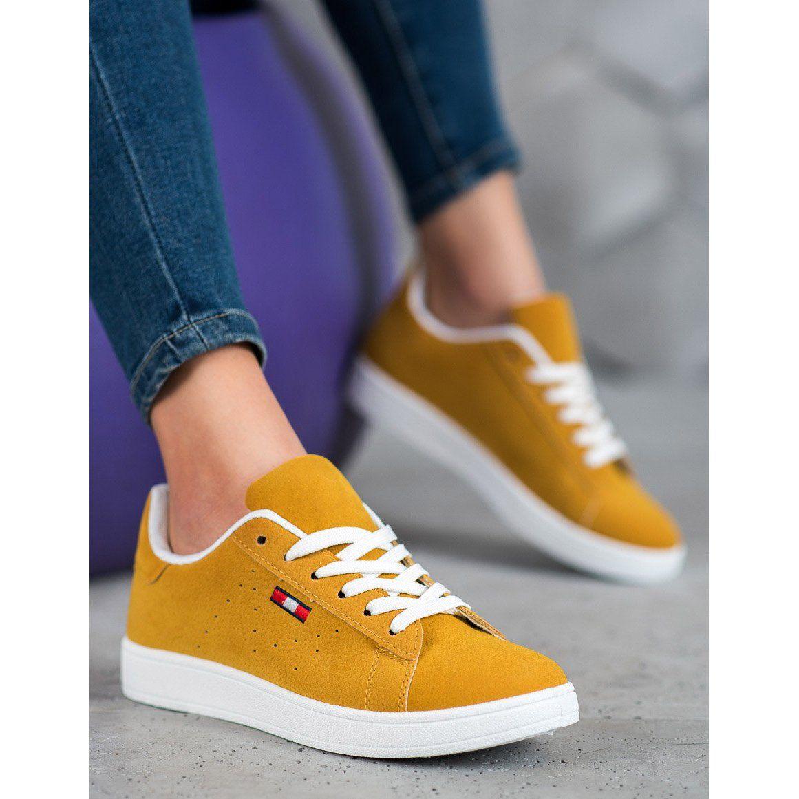 Shelovet Wygodne Buty Z Eko Skory Zolte Shoes Sneakers Fashion
