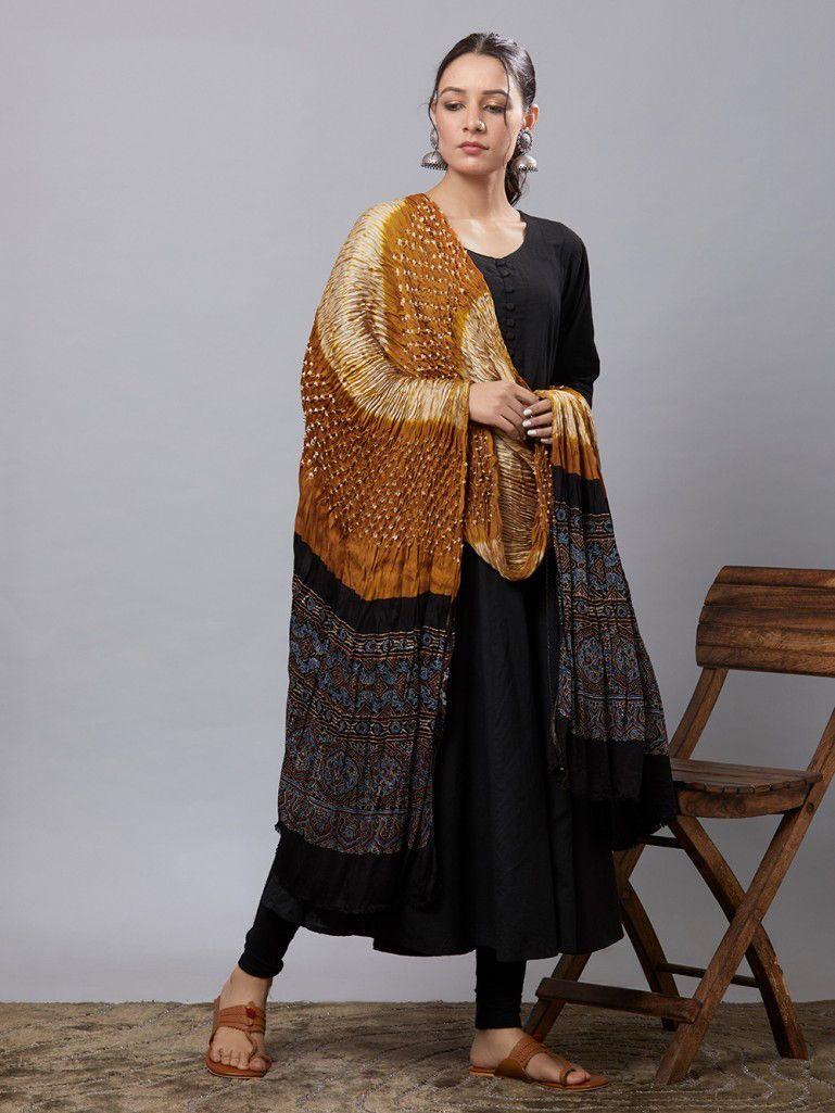 9201fad6da Buy Mustard Yellow Black Bandhani Ajrakh Printed Modal Silk Dupatta online  at Theloom