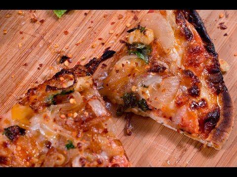 Caramelized onion flatbread Pizza with pita bread