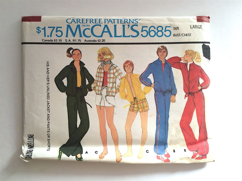 Vintage Sewing Pattern Men's, Women's 70's Uncut McCalls 5685, Jacket, Pants, Shorts by Freshandswanky on Etsy