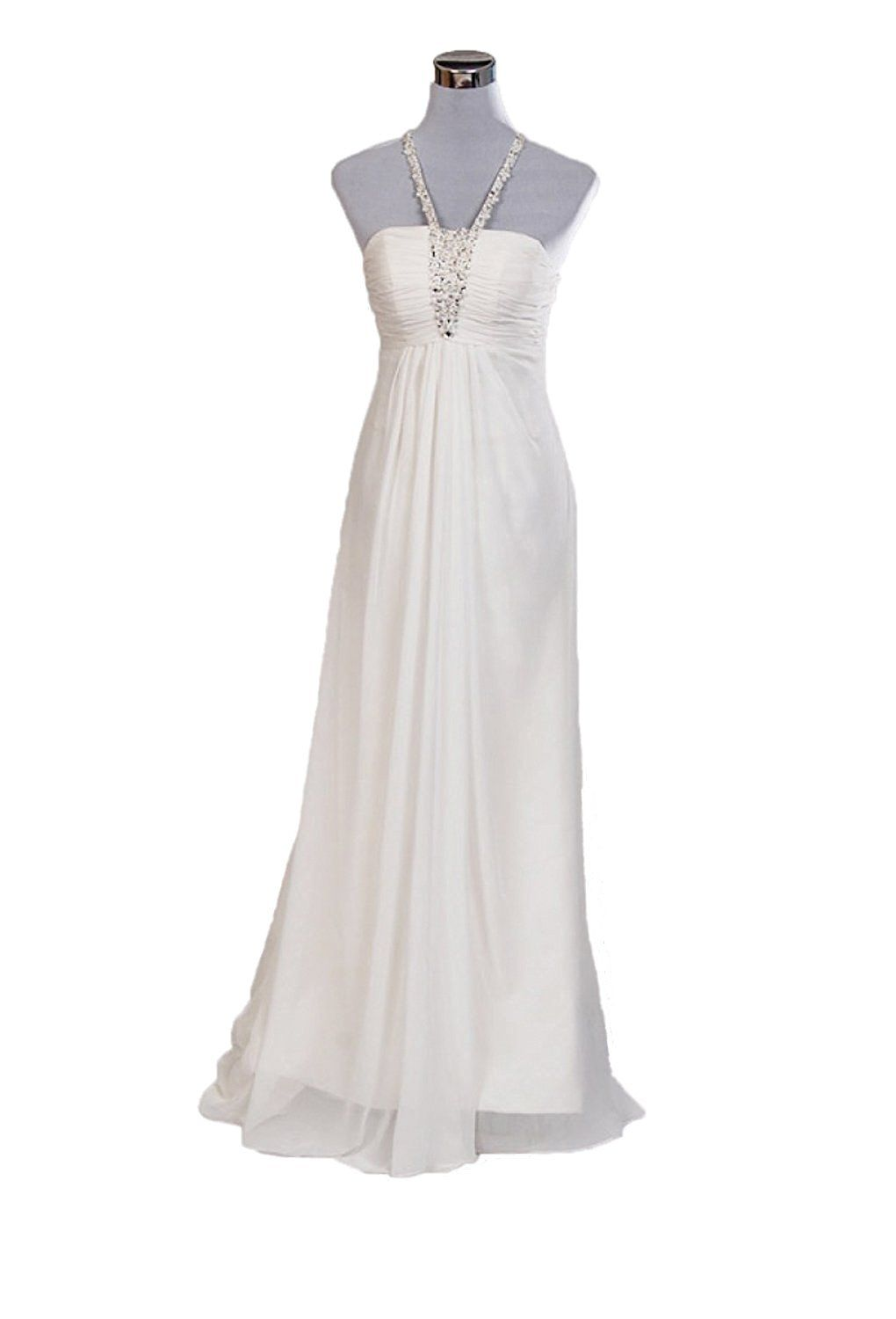 Chiffon wedding dresses  Angel Formal Dresses Womenus Halter Beading Chiffon Wedding Dress