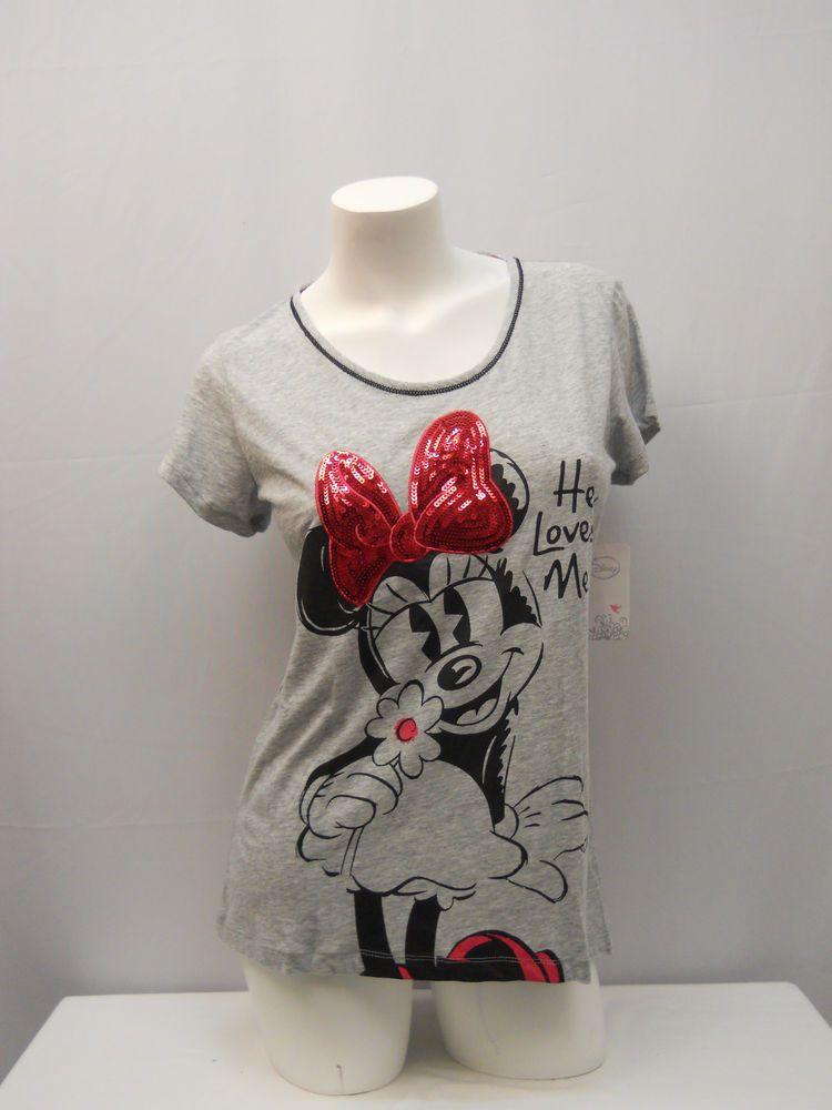 8286755260bbdb Disney Women s Sleepshirt T-shirt Size M Minnie Graphic Grey Short Sleeves   Disney  Sleepshirt