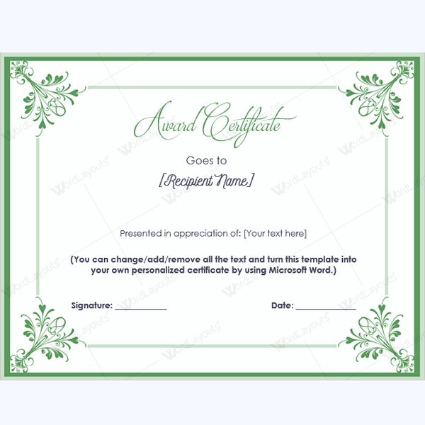 Student Award Certificate Template Award Appreciationcertificate