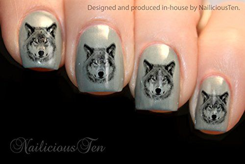 NAILICIOUS TEN Wolf Design Nail Art Wraps Water Transfers 21pcs Decals ST8136 ** Find out more about the great product at the image link.