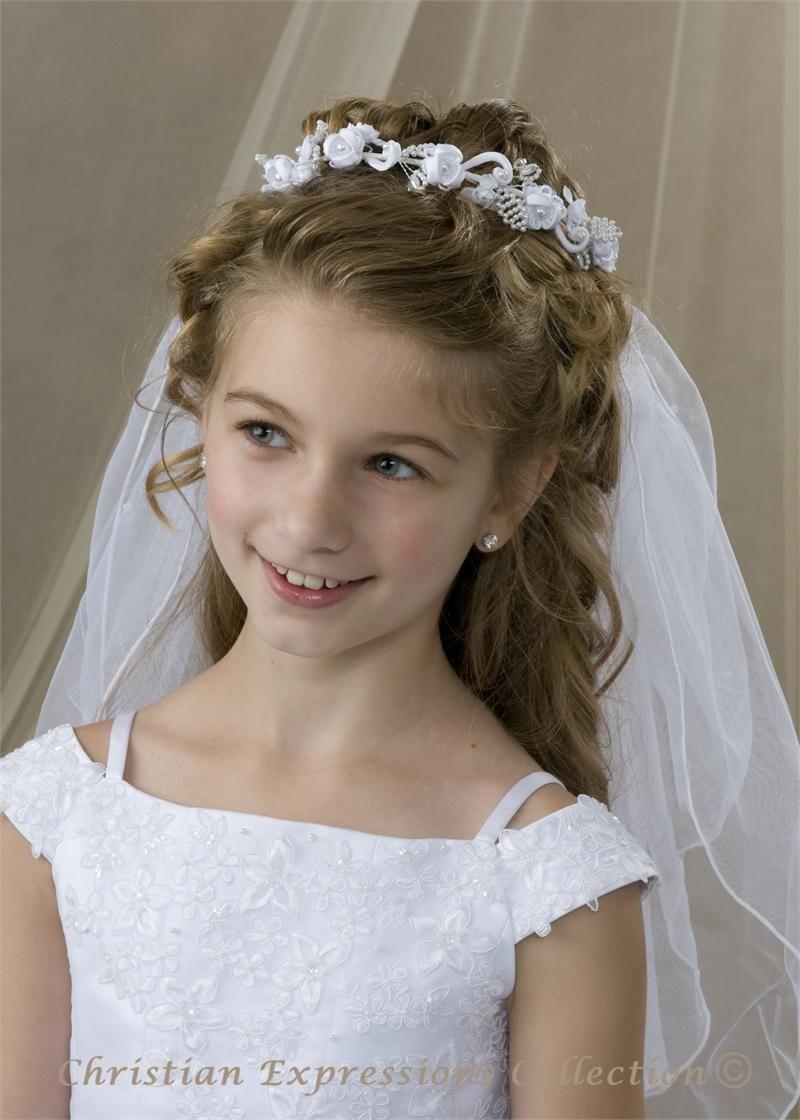 first communion bun wrap veil v826 - bridal veils | first