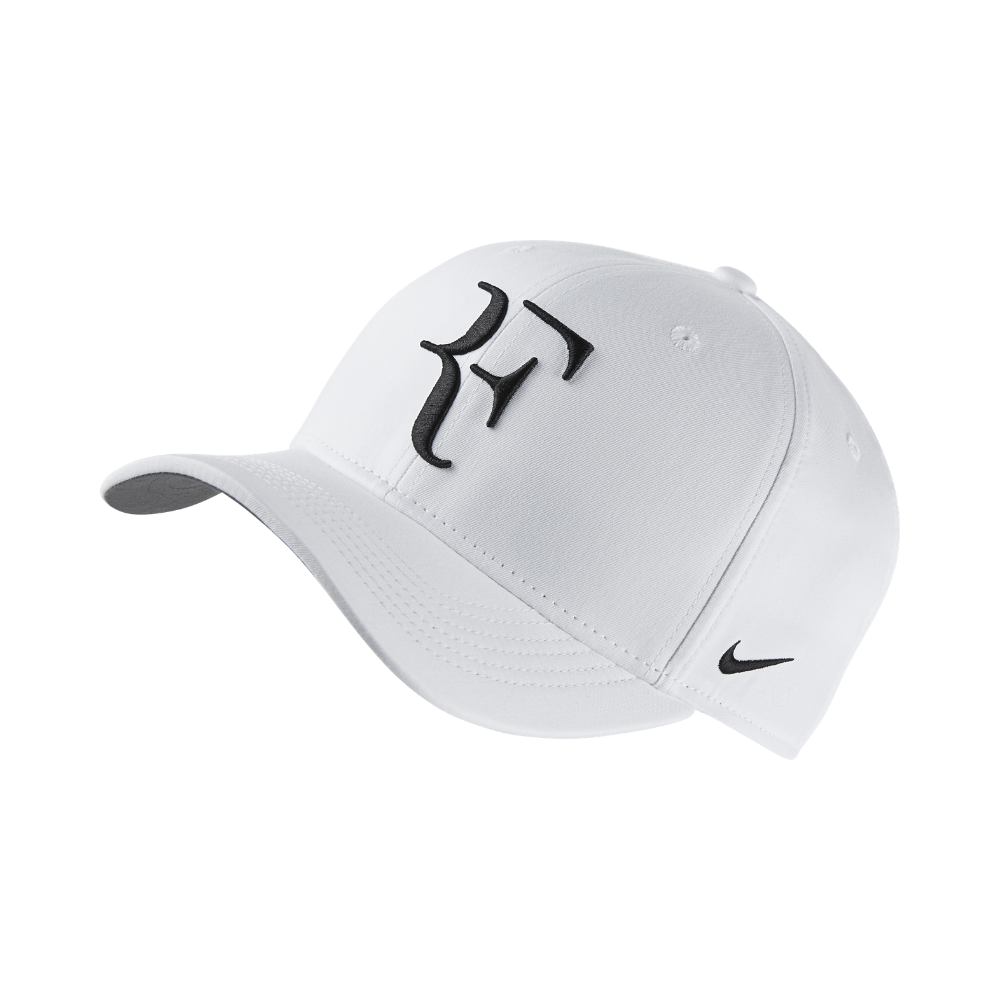 Nike NikeCourt AeroBill Roger Federer Adjustable Tennis Hat (White ... 4d85341af1c