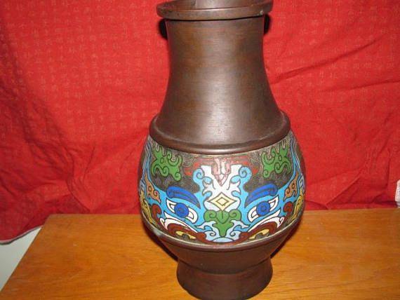 Stunning Antique Japanese Bronze Champleve Vase