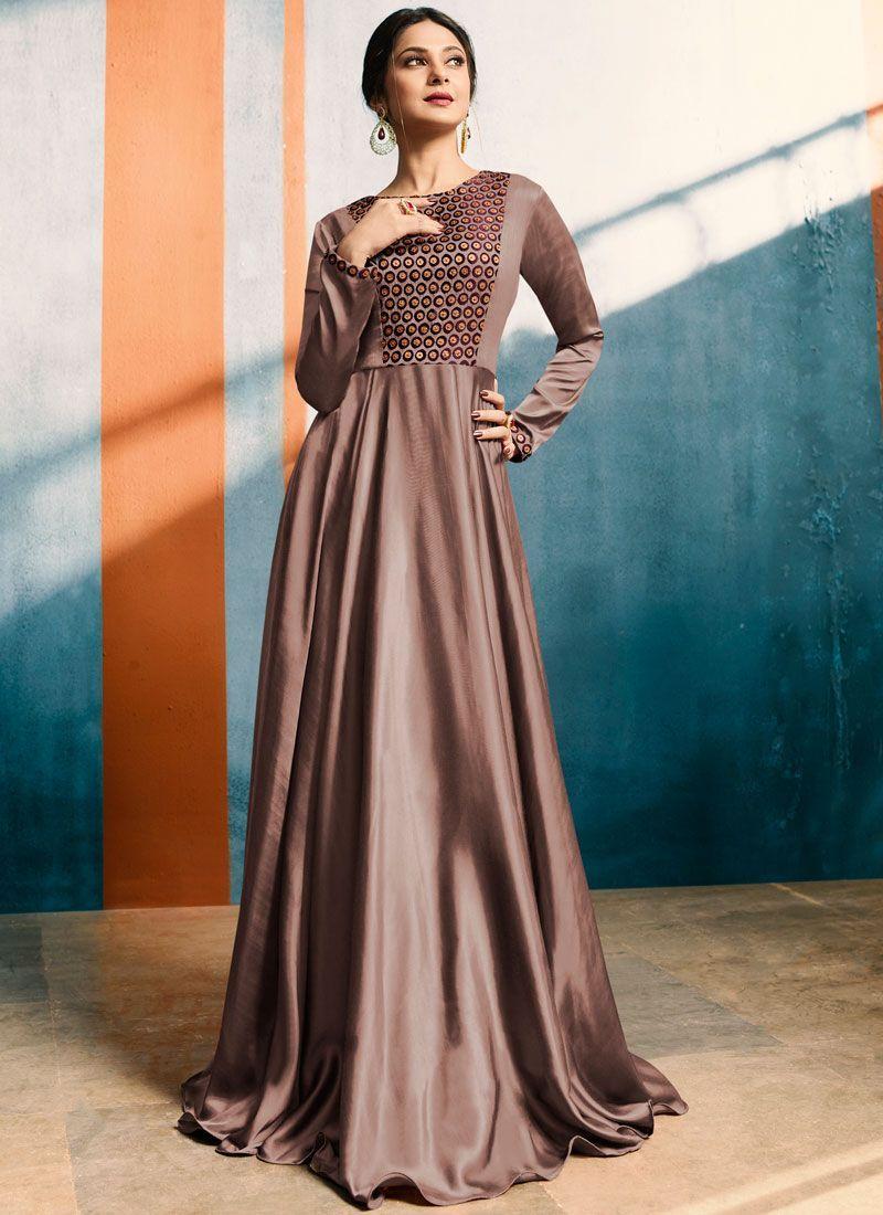 ca50d91130019 Buy best designer kurtis. Grab this satin silk mauve fancy work ...
