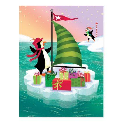 41bf2f2569 Cute Sailing Penguin Delivering Presents Postcard - Xmascards ChristmasEve  Christmas Eve Christmas merry xmas family holy kids gifts holidays Santa  cards
