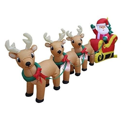 Christmas Santa Reindeer Airblown Inflatable 8 Ft Long Yard Lighted  Decoration