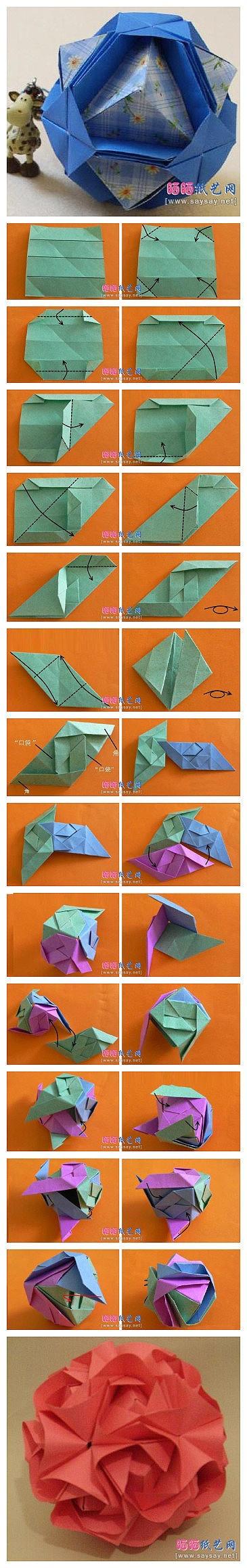 Kusudama Sonobe Diy Paper Crafts Pinterest Origami Modular Flowers Instructions Diagrams Blume Ball Folding