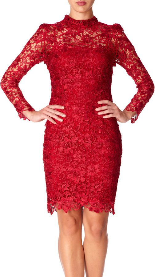 c1d15f54478 Forever Unique NANCY - Red lace long sleeved fitted dress on shopstyle.co.uk