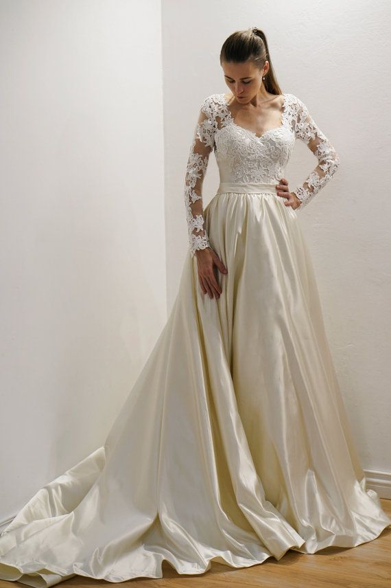 Wedding Dress Nicol Satin Skirt Wedding Dress Atlas Skirt Etsy Online Wedding Dress Long Sleeve Wedding Dress Lace Modest Wedding Dresses With Sleeves