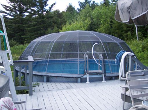 Diy Pool Dome In Ground Pools Above Ground Pool Landscaping Backyard Pool Landscaping